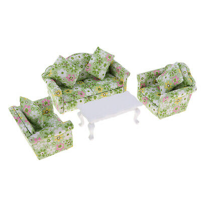 Vintage European Sofa Couch Table Furniture For 1/12 Doll House Miniatures