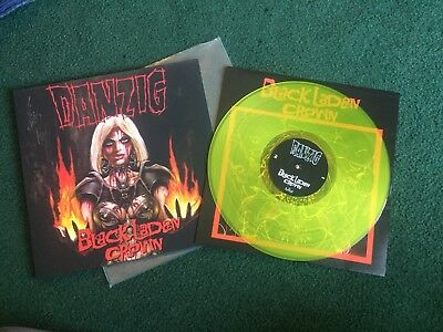 DANZIG  SIGNED !!! - BLACK LADEN CROWN - YELLOW VINYL -  LP record AUTOGRAPH