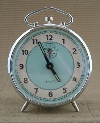 Vintage French Silvoz Mechanical Wind Up Alarm Clock 1950s/60s Working Order