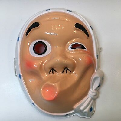 Japanese Rare Celluloid Plastic Theater Mask White With Blue Polka Dots