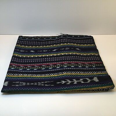 Vintage Guatemalan Handwoven Colorful Fabric Blue with Green Stripes 44x34