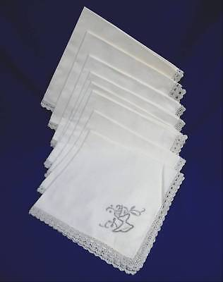"""8 Antique Linen Hand-Embroidered Hand-Crocheted Dinner Napkins 16.5""""square"""