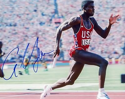 """~~ CARL LEWIS Authentic Hand-Signed """"1984 GOLD MEDAL USA OLYMPICS"""" 8x10 photo B~"""