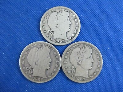 Lot Of 3 U.s. Silver U.s.barber Half Dollar 50 Cent Coin 1902 S 1902 O 1907 D