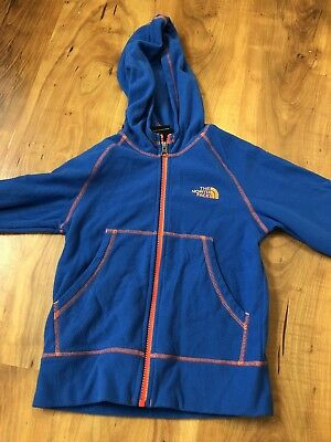 Boys Youth THE NORTH FACE full Zip Fleece Hoodie Size XS Blue/orange