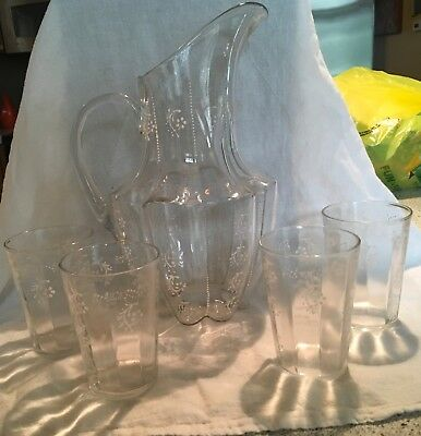 Vintage Victorian Ruffled Pitcher With 4 Glasses Hand Painted Glass