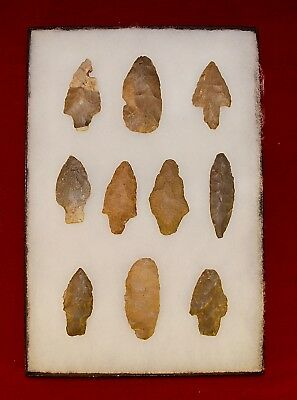 Collection of 10 Authentic Adena Native American Points; Kentucky