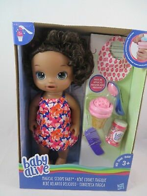 "Baby Alive Doll Magical Scoops African American Food Ice Cream 12"" inches New"