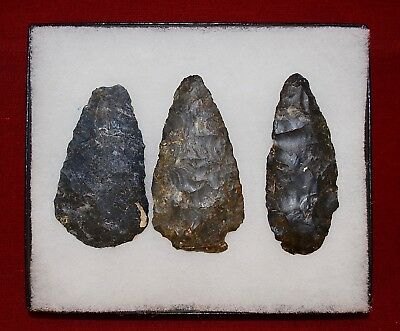 Collection of 3 Authentic Adena Native American Points; Upper Mercer Flint; Ohio
