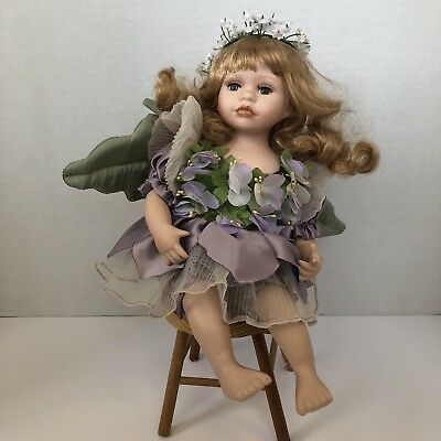 New In Box LADYBUG FAIRY All Porcelain Doll with Grass Forest Stand Porcelain By Material