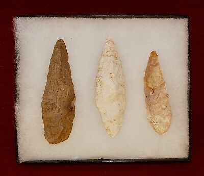 Collection of 3 Authentic Adena Native American Points; Kentucky