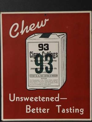 Chew Cigar Cuttings 93 hanging Wall Sign One Sided 9 X 11 Inches (Blue-1)