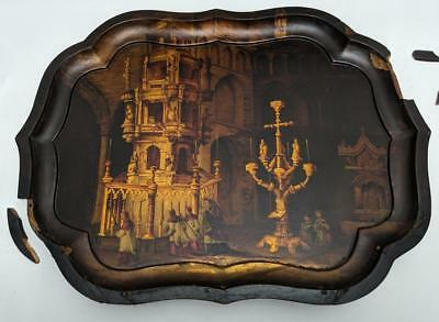 Antique Painted Papier Mache Tray Cathedral  /  Church Interior c1860
