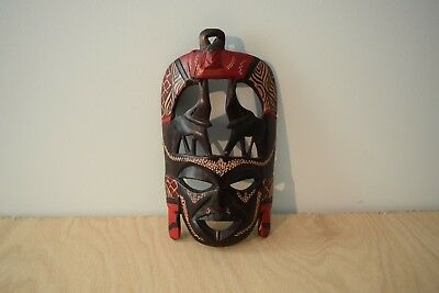Carved Wooden Tribal Mask - Wall Art - Elephants - Brown