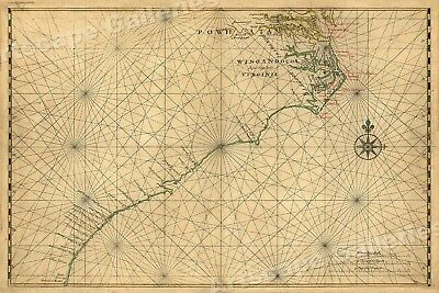 """1639 """"Atlantic Coast of North America"""" Vintage Style Early Land Map - 16x24"""