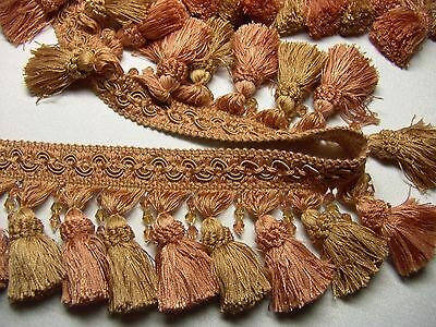 "2 1//4/"" BRONZE//GOLD Mushroom Style Rayon Tassel Fringe Trim Pillows Drapery ~ BTY"