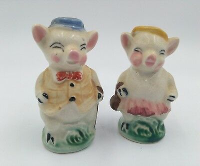 Pair of Vintage Pig Couple Salt and Pepper Shakers Made in Japan