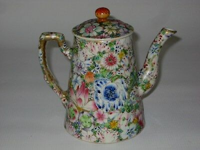 Antique Chinese HP Millefiori Porcelain Teapot, Kuang-hsii Mark 1874-1908