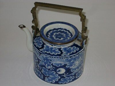 RARE Antique Chinese Blue & White Porcelain Teapot with Bronze Handle, Dragon