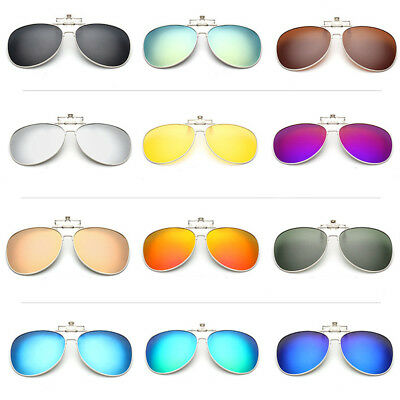 b9a79db88c Clip-On Flip up Sunglasses Polarized Mirrored Lenses Classic Aviator  Eyeglasses