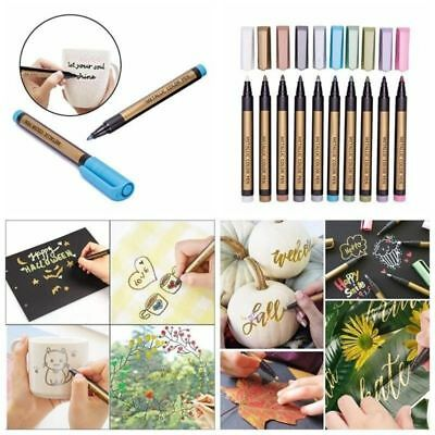 10 Metallic Pen Painting Marker For Paper Gift Card Glass Wood Metal Fabric Rock