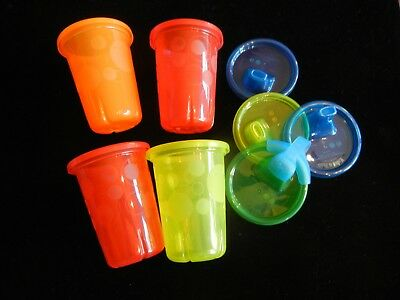 Set of Four 10 oz Colorful Plastic Sippy Cups with Lids NWOT