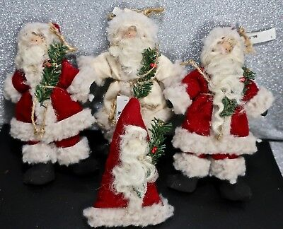 4 Near Retro Vintage 1990s Old Fashion Stuffed Santa Claus Xmas Tree Ornaments