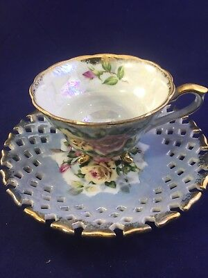 Vtg Iridescent Napco Hand Painted Blue/yellow Roses Cup and Reticulated Saucer