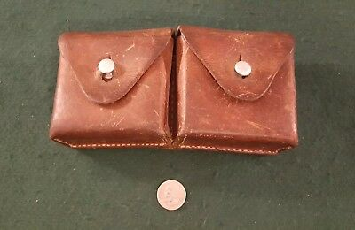 Rare 1955 Swiss Army Military 2 Compartment Leather Ammo Cartridge Pouch