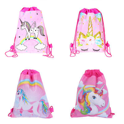 Cute Unicorn Drawstring Bag Backpack Swim Kids Shoes Storage Party Gifts Decor