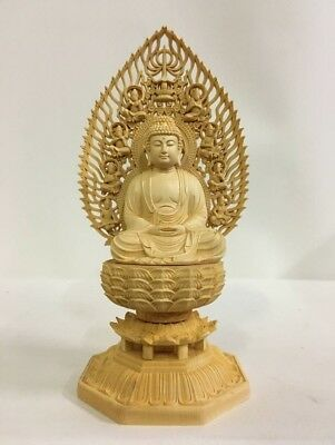 Japanese Japan,Buddhism Buddhism Sculpture Wooden syaka Buddha statue 28cm