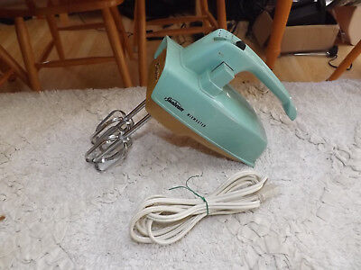 VINTAGE Turquoise & GOLD SUNBEAM MIXMASTER ELECTRIC HAND MIXER - MODEL HM-1