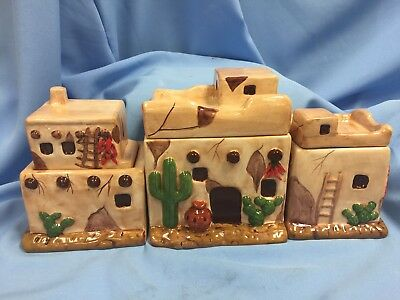 New Set Of 3 Southwest Glazed Canisters, Pueblo Cactus Chile Ristras!