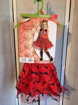 Devlish Darling Girl Toddler 2T Red Black 3-Piece Halloween Dress Up Costume NWT