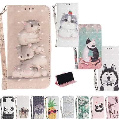 NEW Cute Funny Paint Leather Stand Flip Card Stand Skin Phone Cover Case