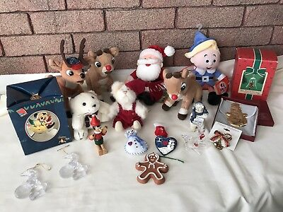 Christmas Collectibles Lot Stuffies Ornaments Pins Disney Rudolph Boyd's Bears