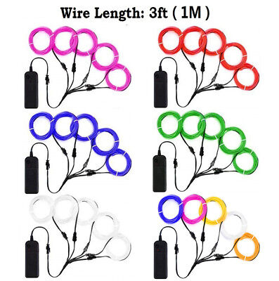 9ft 15ft 5 x 3ft Neon LED Light Glow EL Wire String Strip Rope Tube + Controller