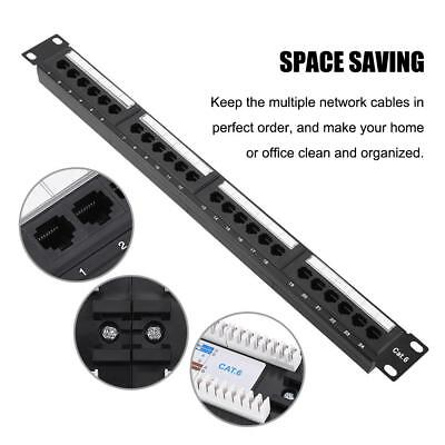 """19"""" 24 Port Mountable Data Patch Panel High Speed CAT6 CAT-6 Network Cable Rack"""