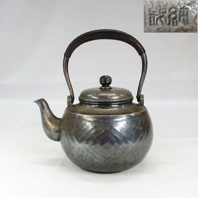 A524: Real Japanese teakettle of high-quality pure silver 483 g with stamp