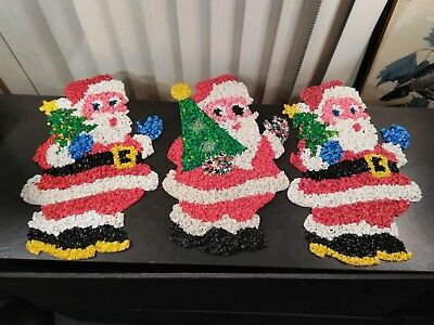 3 Vintage Melted Popcorn Plastic Santa Claus Wall Hanging Decorations