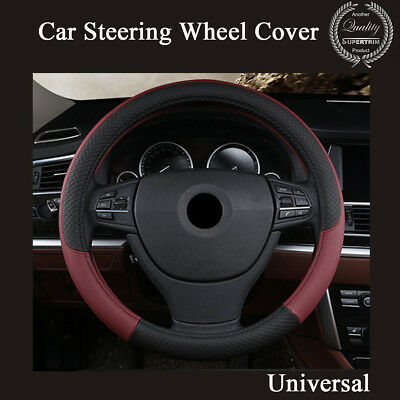 PU Leather Universal Car Steering Wheel Cover 38CM Wine Red AntiSlip Accessories