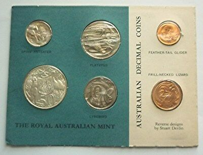 1966 AUSTRALIA - FIRST OFFICIAL MINT SET (6) w/ SILVER 50 CENTS - ORIG. RAM CARD