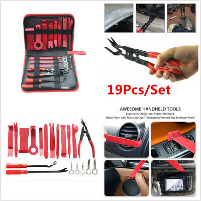 19Pcs Car Dashboard Upholstery Fastener Trim Panel Removal Tools Clip Pliers Kit