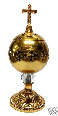 Catholic Gold Censer Polished Brass Home Church Holy Incense Burner Distiller