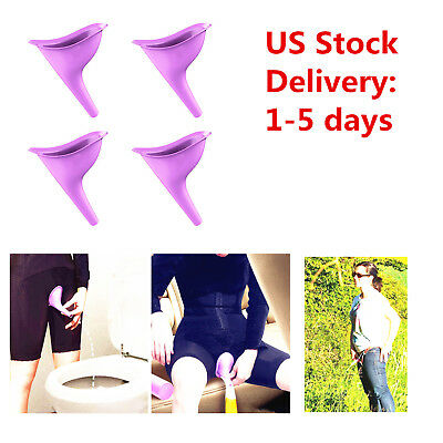 US 4pc Women Female Portable Urinal Outdoor Travel Stand Up Pee Urination Device