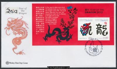 10-Jan-2012 Christmas Island Year Of The Dragon Mini Sheet First Day Cover