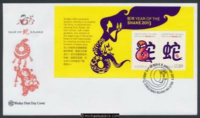 08-Jan-2013 Christmas Island Year Of The Snake Mini Sheet Wesley First Day Cover