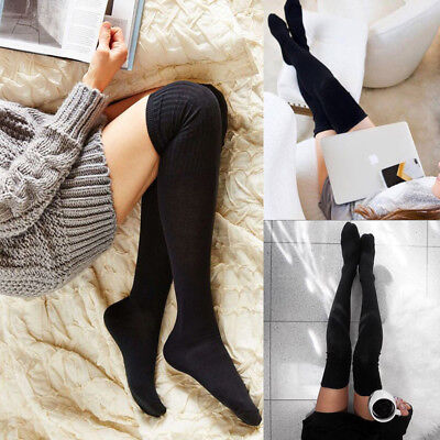 d5fc8fc71fa Women Cable Knit Soft Long Boot Socks Over Knee Thigh High School Girl  Stocking