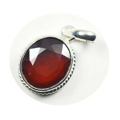 Natural Hessonite Garnet Sterling Silver 8 Carat Stone Necklace Charm Jewelry