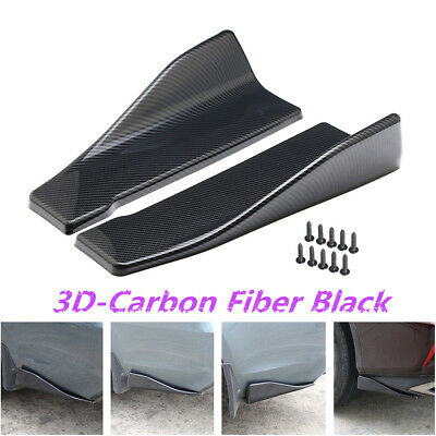 2pc Carbon Fiber Style Car Rear Bumper Lip Diffuser Splitters Anti-scratch Strip